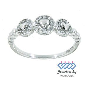 Real Diamond Heart Shaped Fancy Ring White Gold
